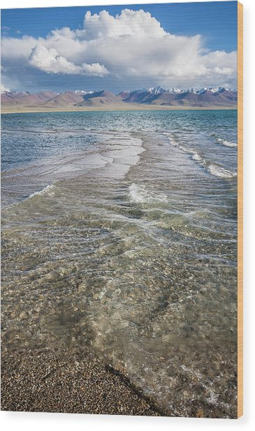 Wood Print featuring the photograph Waves Of Namtso, Tibet, 2007 by Hitendra SINKAR