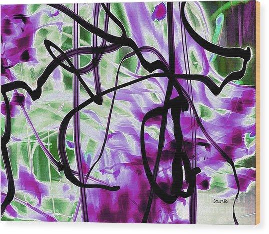 Waves Of Purple Wood Print