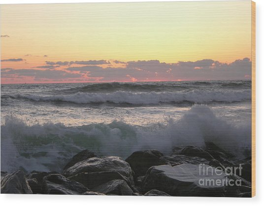 Waves Over The Rocks  5-3-15 Wood Print