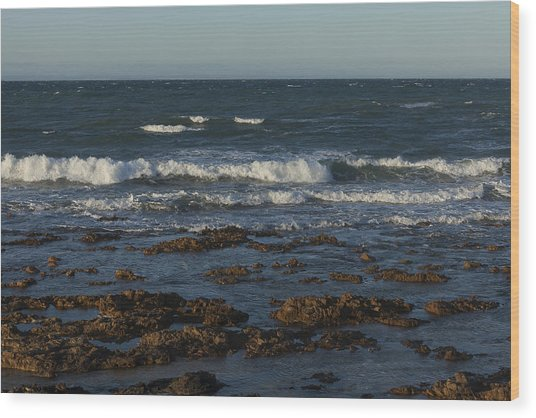 Waves Rolling Ashore Wood Print