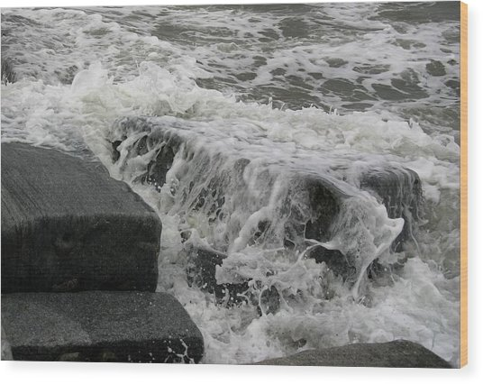 Waves Splashing Stones 2 Wood Print