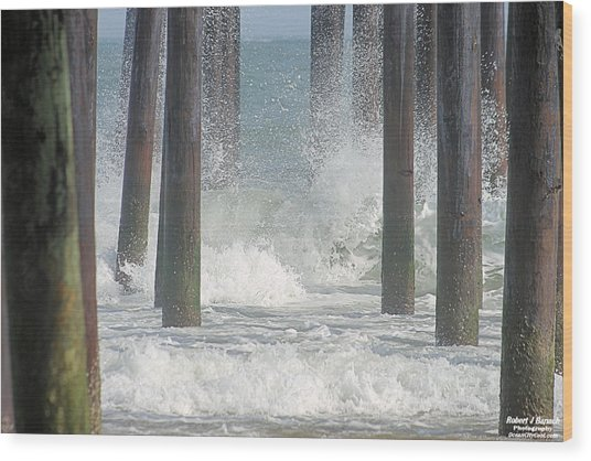 Waves Under The Pier Wood Print