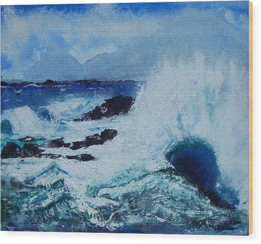 Waves Wood Print by Valerie Wolf