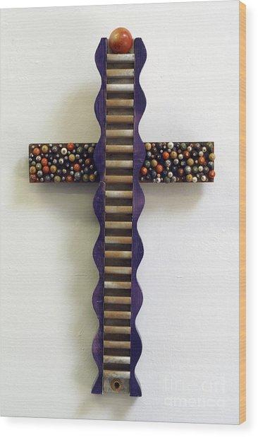 Wavy Cross With Beads Wood Print