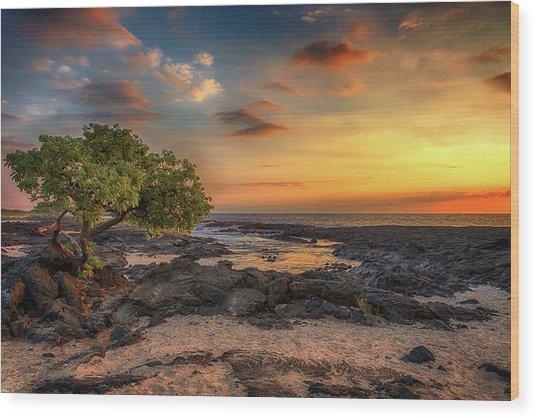 Wawaloli Beach Sunset Wood Print