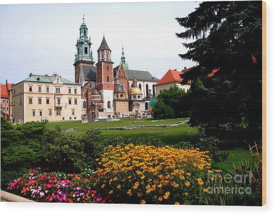 Wawel Cathedral In Krakow Wood Print by Jacqueline M Lewis
