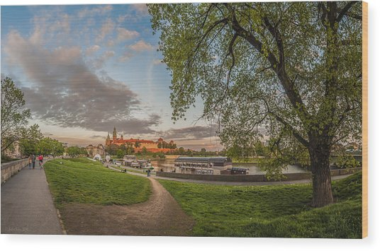 Wawel Royal Castle Seen From Vistula Bank In 16x9 Wood Print