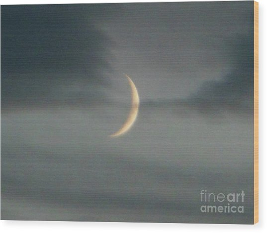 Waxing Crescent Moon Wood Print