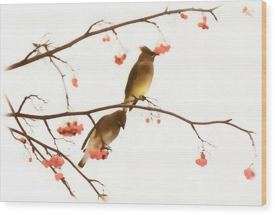 Waxwing Wonders Wood Print