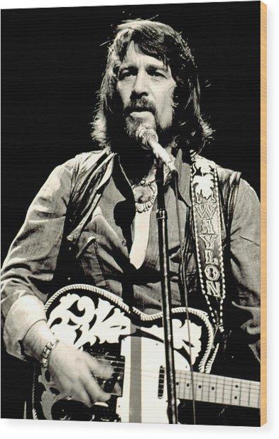 Waylon Jennings In Concert, C. 1976 Wood Print