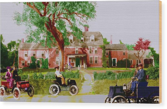 Wayside Inn With Autos Wood Print