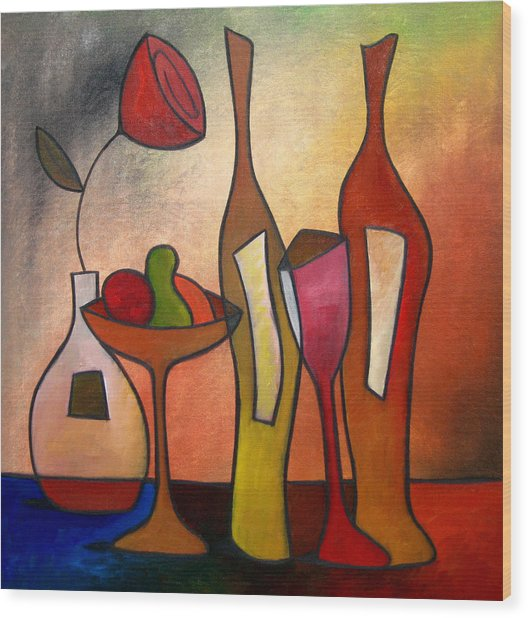 We Can Share - Abstract Wine Art By Fidostudio Wood Print