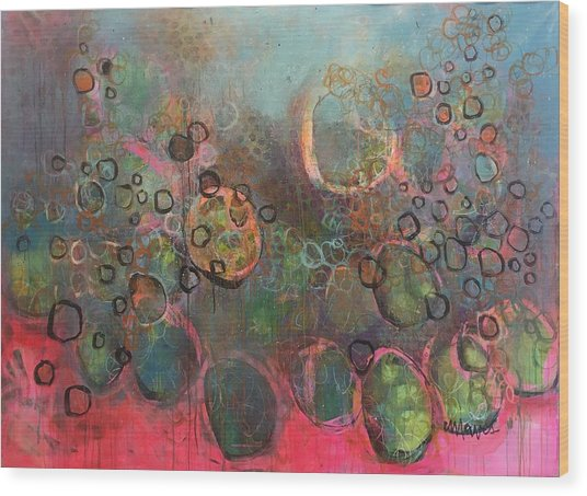 Wood Print featuring the painting We Never Finish Where We Begin by Laurie Maves ART