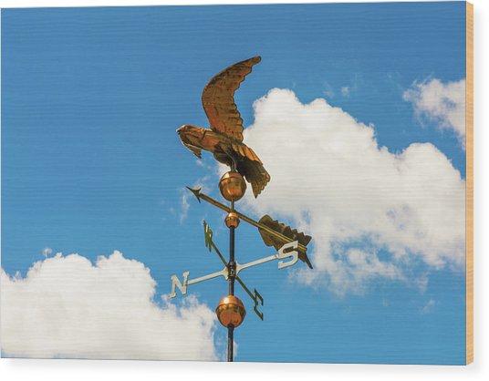 Weather Vane On Blue Sky Wood Print