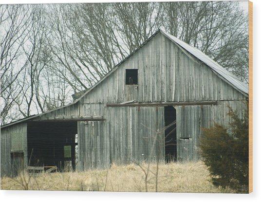 Weathered Barn In Winter Wood Print