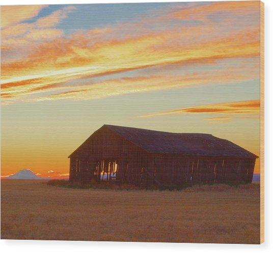 Weathered Barn Sunset Wood Print