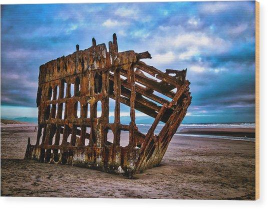 Weathered Shipwreck Wood Print