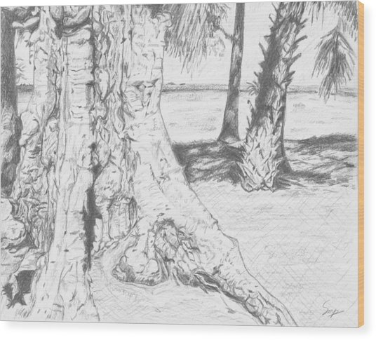 Weathered Trees Wood Print
