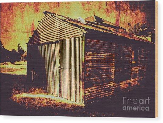 Weathered Vintage Rural Shed Wood Print