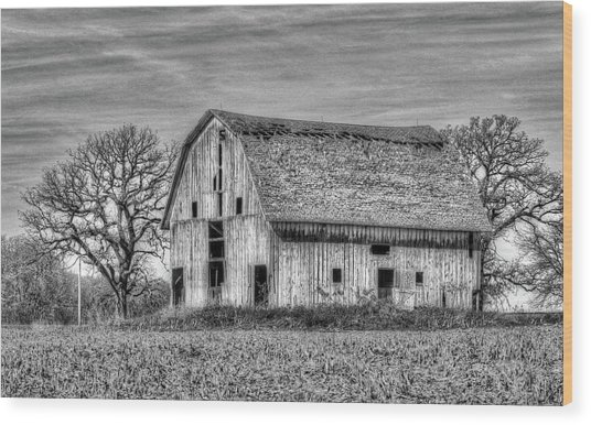 Weathered Wood Of Iowa Wood Print