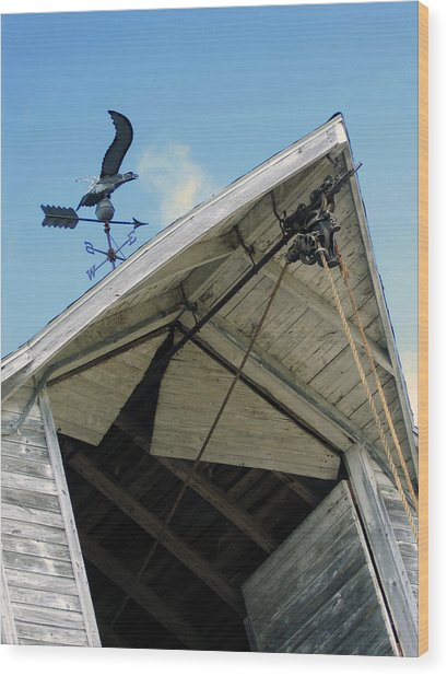 Weathervane Over The Hay Loft Wood Print by Laurie With