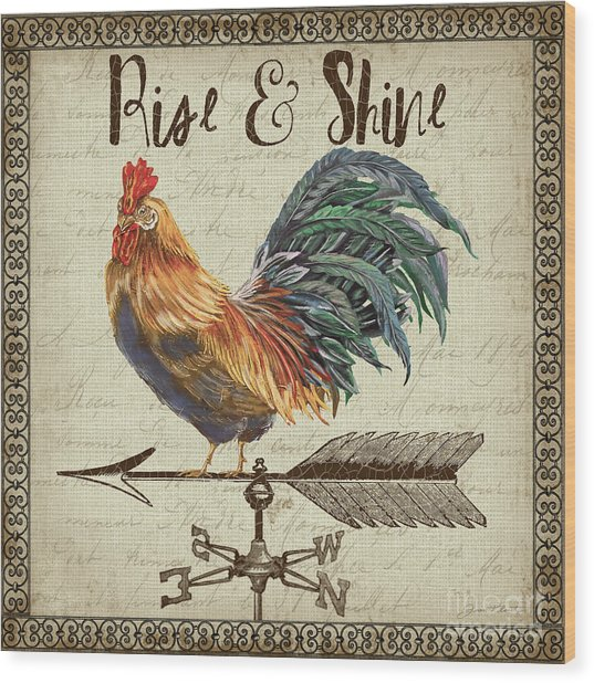 Weathervane Rooster-jp3772 Wood Print