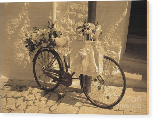 Wedding Bike Wood Print