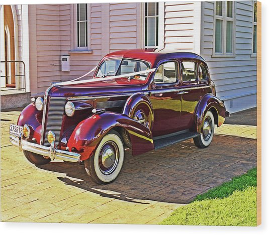 Wedding Limousine Wood Print by Kenneth William Caleno