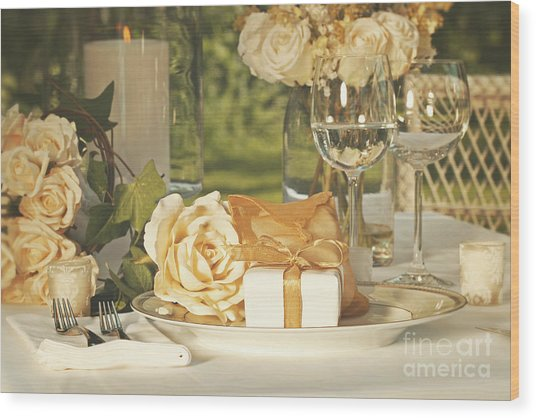 Wedding Party Favors On Plate At Reception Wood Print