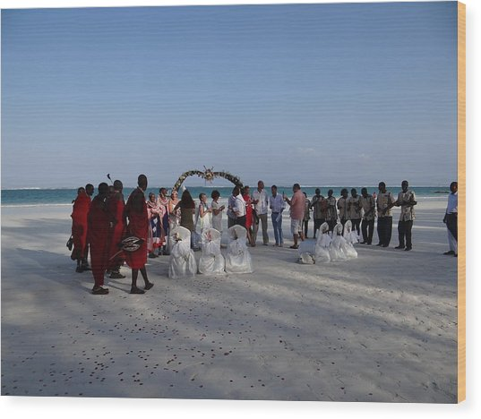 wedding with Maasai singers Wood Print