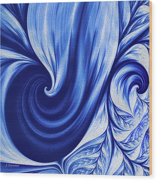 Wedgewood Blue Fractal Art II Wood Print