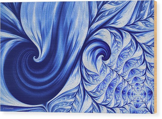 Wedgewood Blue Fractal Art Wood Print