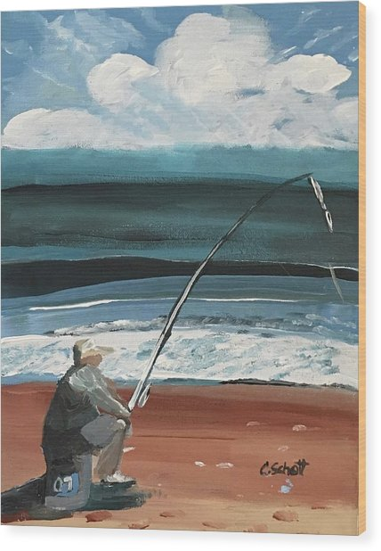Weekend Fisherman Wood Print