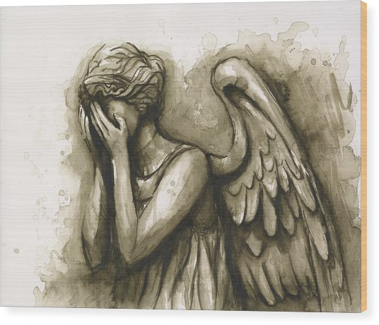 Weeping Angel Wood Print