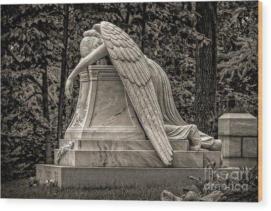 Weeping Angel - Sepia Wood Print
