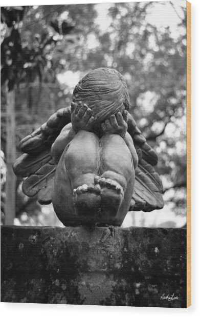 Weeping Child Angel Wood Print