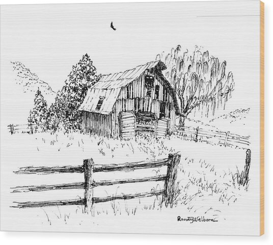 Weeping Willow And Barn One Wood Print
