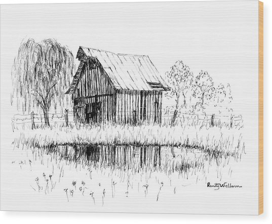 Weeping Willow And Barn Two Wood Print