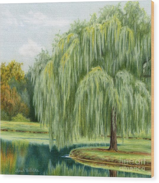 Under The Willow Tree Wood Print