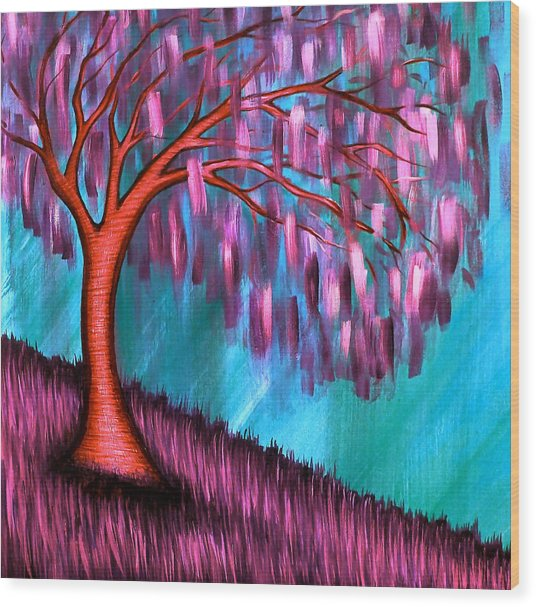 Weeping Willow II Wood Print by Brenda Higginson