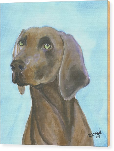 Weimarainer Dog Art Wood Print by Mary Jo Zorad