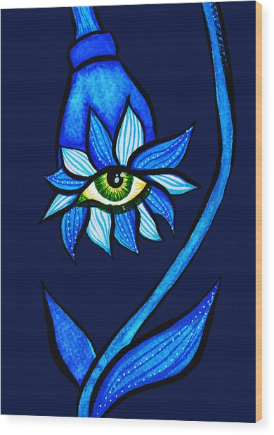 Weird Blue Staring Creepy Eye Flower Wood Print