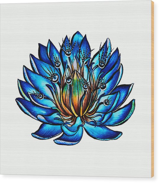 Weird Multi Eyed Blue Water Lily Flower Wood Print
