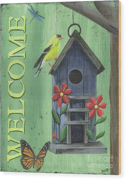 Welcome Goldfinch Wood Print