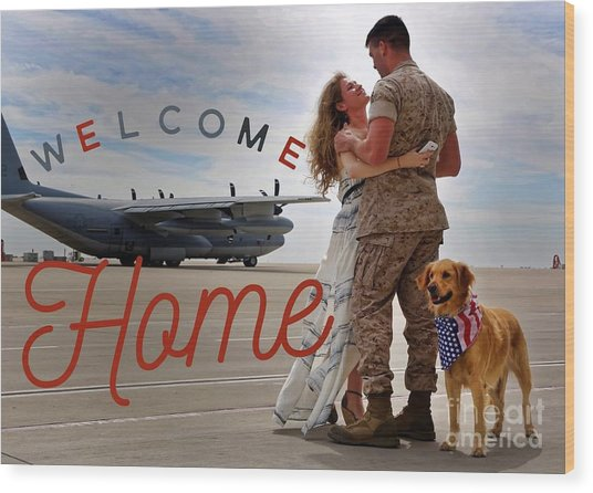 Wood Print featuring the digital art Welcome Home by Kathy Tarochione