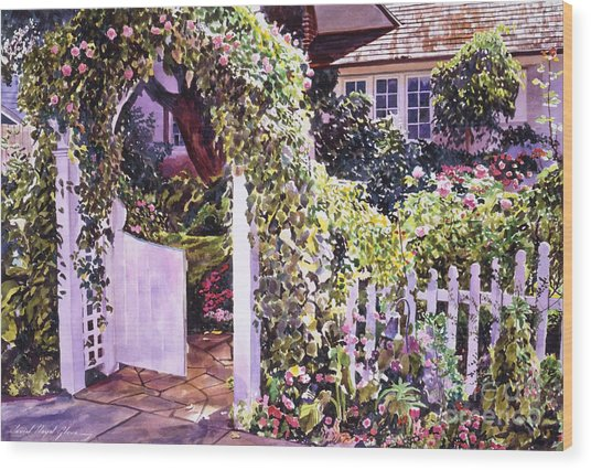 Welcome Rose Covered Gate Wood Print by David Lloyd Glover