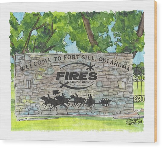 Welcome Sign Fort Sill Wood Print
