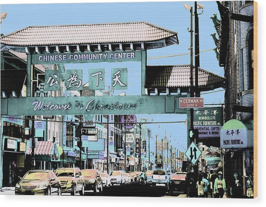 Wood Print featuring the photograph Welcome To Chinatown Sign Blue by Marianne Dow