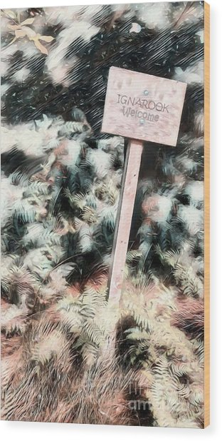 Welcome To Ignarook Wood Print by Isabella Shores