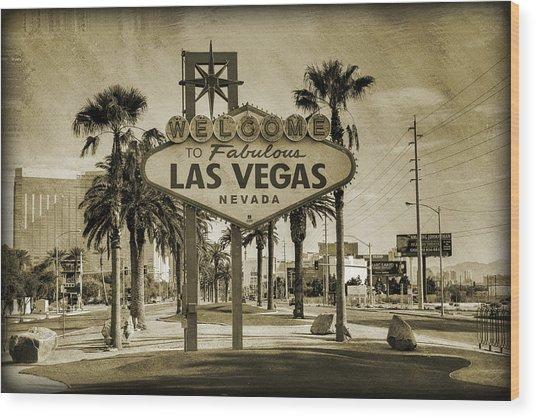 Welcome To Las Vegas Series Sepia Grunge Wood Print